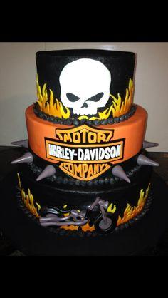 Harley Davidson cake Birthday Cakes For Men, Cakes For Boys, Torta Harley Davidson, Motorcycle Cake, Bike Cakes, Dad Cake, Fantasy Cake, Just Cakes, Specialty Cakes