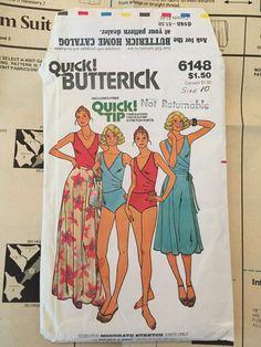 Vintage Butterick Pattern 6148 Swimsuit & Wrap Skirt  Sz 10 Cut circa 1980