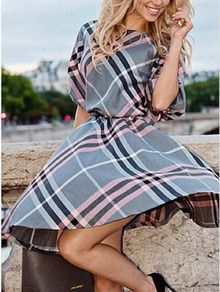 Color-block Elbow Sleeve Plaid A-Line Dress