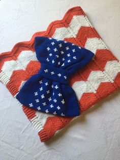 Knitted USA Flag Soft Baby Blanket Red Blue by QueensAccessories