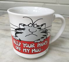 vintage Boynton mug, Keep Your Paws off My Mug, Recycled Paper Products. cat mug by MotherMuse on Etsy