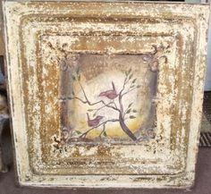 Isn't this fabulous.  Hand painted old ceiling tile - measures 24x24.  Just purchased it.  I love it!