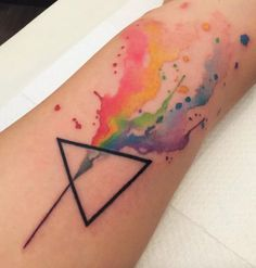 Geometric Abstract Rainbow Watercolor Tattoo - MyBodiArt.com