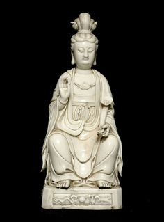 BLANC DE CHINE BUDDHA STATUE HE CHAOZONG MARKED LK434