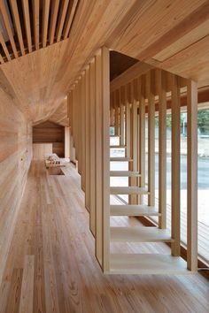 Architect Go Hasegawa collaborated with San Francisco–based company Airbnb to craft this two-story dwelling, clad in Yoshino cedar, as a combination community center and guest accommodation, with the first floor serving as a cozy public area for the townspeople to relax and chat and the second floor providing space for travelers and guests. After House Vision 2016, the prototype will be moved to the town of Yoshino and listed on Airbnb.