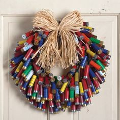 Shotgun Shell Wreath  I want this for the front door. Make robbers think twice. :)