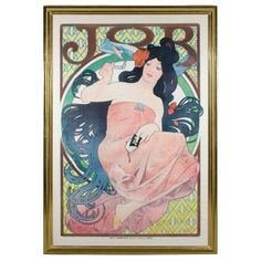 "French Art Nouveau Lithograph ""Job"" by Alphonse Mucha"