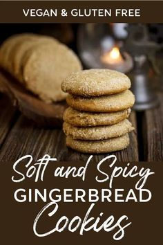 Enjoy soft, spicy, melt-in-your-mouth gingerbread cookies that are vegan, gluten free and use less sugar than typical gingerbread cookie recipes! #vegan #gluten #free #holiday #christmas #cookies #gingerbread #treats