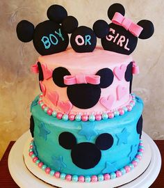 61 Ideas for baby shower cake disney mice Disney Gender Reveal, Gender Reveal Nails, Gender Reveal Box, Pregnancy Gender Reveal, Baby Gender Reveal Party, Gender Party, Baby Reveal Cakes, Mickey Baby Showers, Gender Reveal Party Decorations