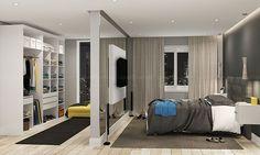 Quarto de Casal Completo de 14,10 m² com Cabeceira, Painel para TV, Guarda-roupa Closet Modulado e Nichos Suspensos Branco/Cinza - Caaza