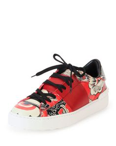 Valentino Printed Leather Open-Laced Low-Top Sneaker