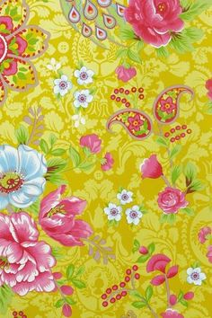 Show details for Flowers in the Mix wallpaper yellow