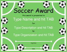 Soccer certificate awards awards free printable ideas for Soccer certificate templates
