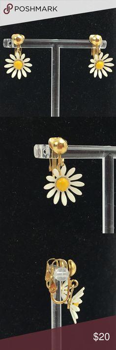 "Vintage enamel daisy flower clip on earrings boho Vintage enamel daisy flower clip on earrings; 60s 70s era boho hippie theme; dangle approx 1""; super cute and dainty; Good condition Vintage Jewelry Earrings"