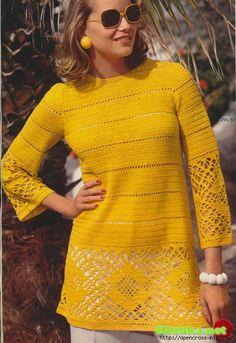 Желтое платье-туника крючком