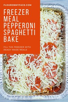 Pepperoni Spaghetti recipe that can be baked for dinner or frozen for freezer meals. Spaghetti freezes well and can be used for meal prepping. Baked Spaghetti, Spaghetti Recipes, Pasta Recipes, Cooking Recipes, Skillet Recipes, Homemade Meat Sauce, Meat Sauce Recipes, Easy Freezer Meals, Freezer Cooking