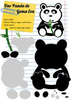 Un oso panda comiendo bambú............¡en goma eva! Ánimo ...¡es fácil! Mamá Eva-Manualidades y DIY-Plantillas gratis