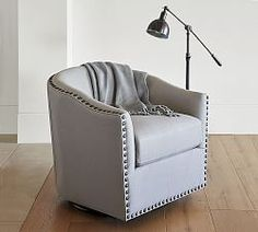 Harlow Upholstered Swivel Armchair With Bronze Nailheads, Polyester Wrapped  Cushions, Twill Metal Gray
