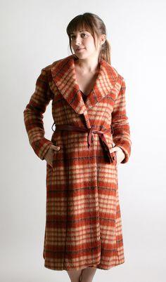 Vintage Wool Coat - 1960s Rust Brown Autumn Plaid Long Coat