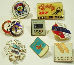 Ski Skiing Pin Lot of 8 Vintage USA Foreign Collectible Sports Pinbacks $9.99