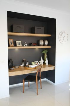 Study nook somewhere in main living zone, like the contrast dark colour and wood…