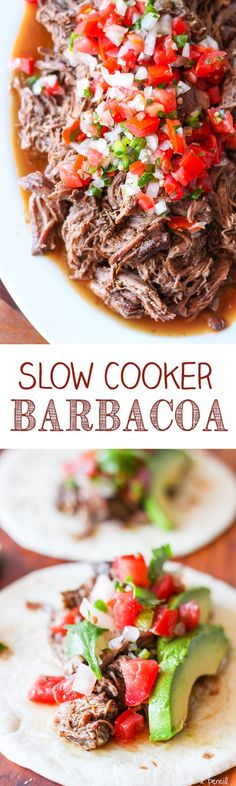 Slow Cooker Barbacoa Beef Perfect on tacos in burritos burrito bowls or just as. - paleo crockpot - Slow Cooker Barbacoa Beef Perfect on tacos in burritos burrito bowls or just as a main dish with r - Crock Pot Recipes, Crock Pot Cooking, Slow Cooker Recipes, Paleo Recipes, Mexican Food Recipes, Dinner Recipes, Cooking Recipes, Roast Crockpot Recipes, Boneless Chuck Roast Recipes