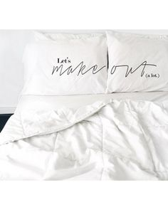Check Out These Holiday Deals! Bedding & Bath : Lets Make Out Pillow Cases Newly Married, Just Married, Cute Pillows, Bed Pillows, Bedroom Decor Master For Couples, Minimal Bedroom, Vintage Pillows, Real Simple, Beautiful Family
