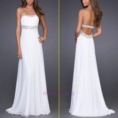 Cheap White Backless Beads Long College Graduation Dresses Prom dresses 2013