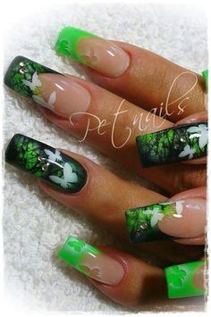 Image via Pink flowers on a purple based paint spray-painted on the nails Image via Soft blue base and abstract black lines, airbrush nail art Image via Airbrush Nails Pink Ombre Beautiful Nail Designs, Cute Nail Designs, Beautiful Nail Art, Awesome Designs, Butterfly Nail Designs, Butterfly Nail Art, Green Butterfly, Beautiful Forest, Fancy Nails