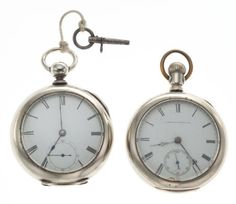Waltham Two Running Model 57 Key Winds Case: silverode, 18 sizes Dial: enamel, Roman Movement: one Home Watch Co. - Available at Tuesday Internet Watch and. Waltham Watch, Pendant Watch, Pocket Watches, Roman, Enamel, Auction, Key, Jewels, Steel