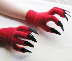 Gloves with claws, red and black, for Halloween costume or pretend play, one size stretch glove. $15.00, via Etsy.