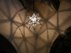 "Moravian 13 5"" Clear Glass Star with Antique Bronze Trim and Ceiling Canopy 