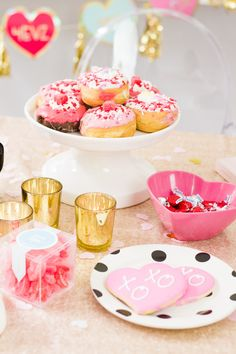 How to throw a Galentine's Day party: galentine's day donuts, valentine's day donuts, cute galentine's day table