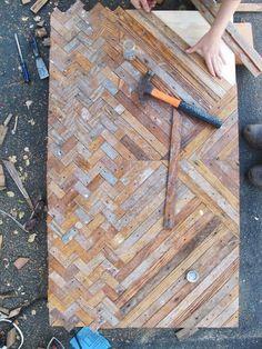 reclaimed wood table top: unique chevron pattern