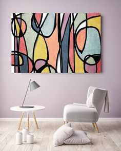 Vibrant Colorful Abstract-0-19. Mid-Century Modern Colorful Canvas Art Print Mid Century Modern Canvas Art Print up to 72 by Irena Orlov