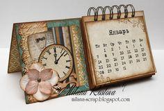 ArtWorks: Календарь в подарок Mini Albums, Mini Scrapbook Albums, Scrapbook Page Layouts, Scrapbook Paper, Creative Arts And Crafts, Diy And Crafts, Kalender Design, Diy Calendar, Desk Calendars