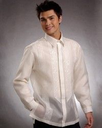 barong tagalog shirt for groom & groosmen to honor fiance's Filipino heritage