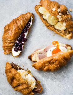4 quick and easy croissants recipes Raise your breakfast game with our easy and inventive croissant fillings – pack your pastries with ricotta and blueberry, ham and cheese or Nutella and ice cream Easy Croissant Recipe, Nutella Croissant, Le Croissant, Croissant Sandwich, Breakfast Croissant, Best Brunch Recipes, Breakfast Recipes, Quick Recipes, Gastronomia