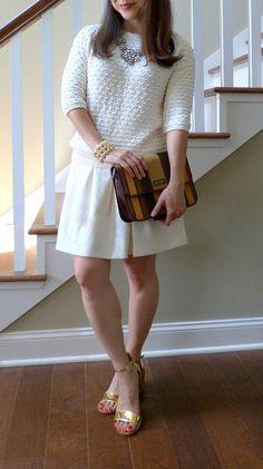 #bananarepublic sweater skirt #jcrewinspired necklace #inpinkstyle bracelet #zara sandals #moschino bag