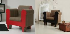 Did you even know there's such a thing as cardboard furniture? Not boxes repurposed into storage modules but actual furniture pieces made of cardboard. Cardboard Chair, Cardboard Furniture, Funky Furniture, French Provincial Chair, Polywood Adirondack Chairs, Oversized Chair, Tub Chair, Rocking Chair, Chair Design