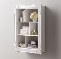 Extra-Large Vintage Hand-Carved Display Shelf - Antique White - I need to make something like this with my old frames - Display Shelves, Shelving, Glass Shelves, Frame Display, Furniture Makeover, Diy Furniture, Furniture Dolly, Furniture Stores, Vintage Furniture