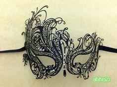 Schwarze Swan venezianische Maske Maskenspiel Metall Filigran Partie Augenmaske