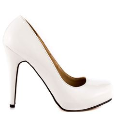 Feel the love in these perfect everyday pumps from Michael Antonio. Love Me 3 is a white patent round toe 4 1/2 inch heel, this style is completed with a 1/2 inch hidden platform. Grab a pair of these work or play heels before they're gone!