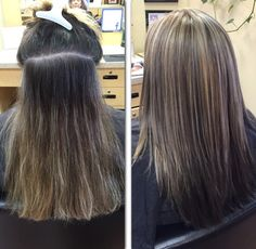 A great way to help blend grey roots is by adding some highlights to your color!