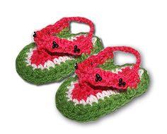 Baby watermelon crocheted flip flops