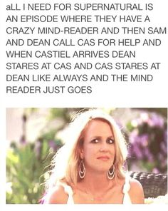 mind reader: uh dean and cas: ...*silent intense staring* mind reader: *to sam* **quietly** holy shit