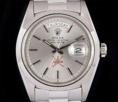 Rolex White Gold Unworn NOS Day-Date Gents Omani Dial. National Symbols, Rolex Day Date, Oyster Perpetual, Vintage Rolex, Wrist Watches, Chronograph, White Gold, Dating, Silver