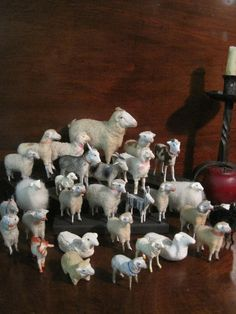 Antique Collection of Putz Stick Legged Sheep For Sale North Bayshore Antiques