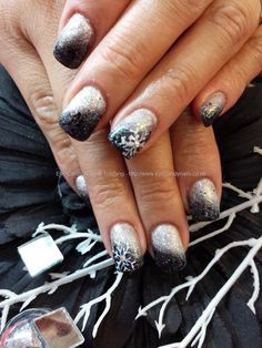 Silver and black gel fade with silver glitter and snowflake nail art