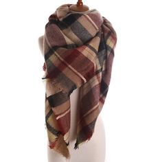 """Blanket Scarf burgundy/black Soft, lightweight and thin avoids excess bulk. Approximately 58""""x58"""". Images 2, 3, 4 show an actual stock item. Brand new in package. No trades, no holding, no offsite payment.       ❗️PRICE IS FIRM UNLESS BUNDLED❗️ Accessories Scarves & Wraps"""